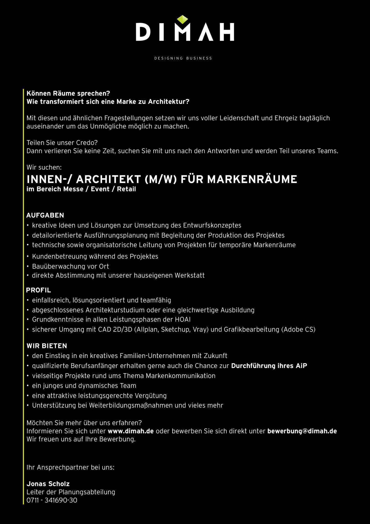 Wunderbar Architekt Suchen Beste Wahl Wir Einen Für Markenräume (m/w)